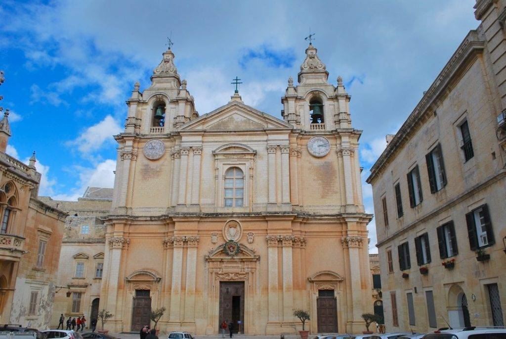 Outside of St Pauls Cathedral Mdina