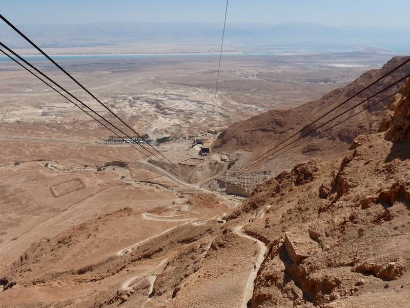 View from the cable car of Snake Path - the only way up to the top