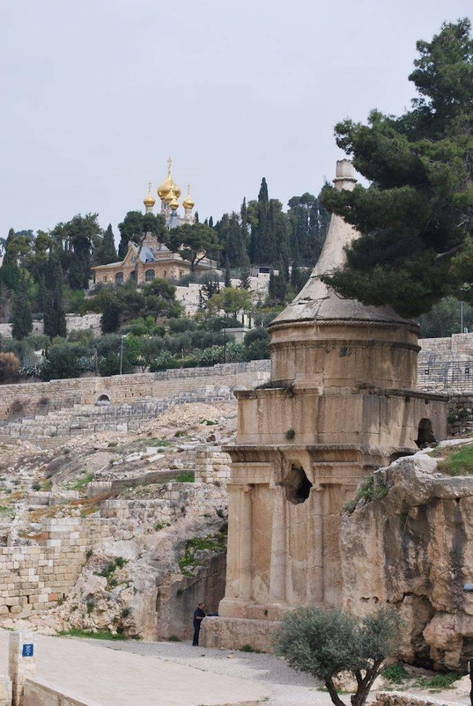 A view of the Mount of Olives from Absaloms tomb, Kidron Valley Jerusalem