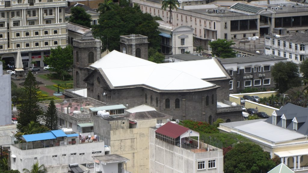Port Louis Cathedral view from Citadel Mauritius