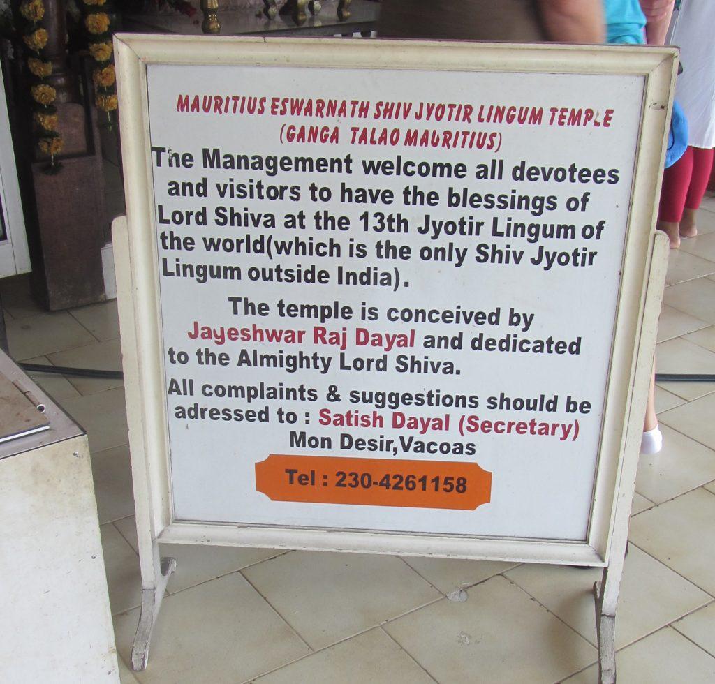 Mauritius Eswarnath Shiv Jyotir Lingum Temple (Ganga Talao Mauritius)