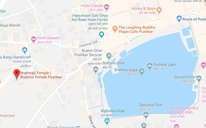 Map of Brahma Temple Pushkar