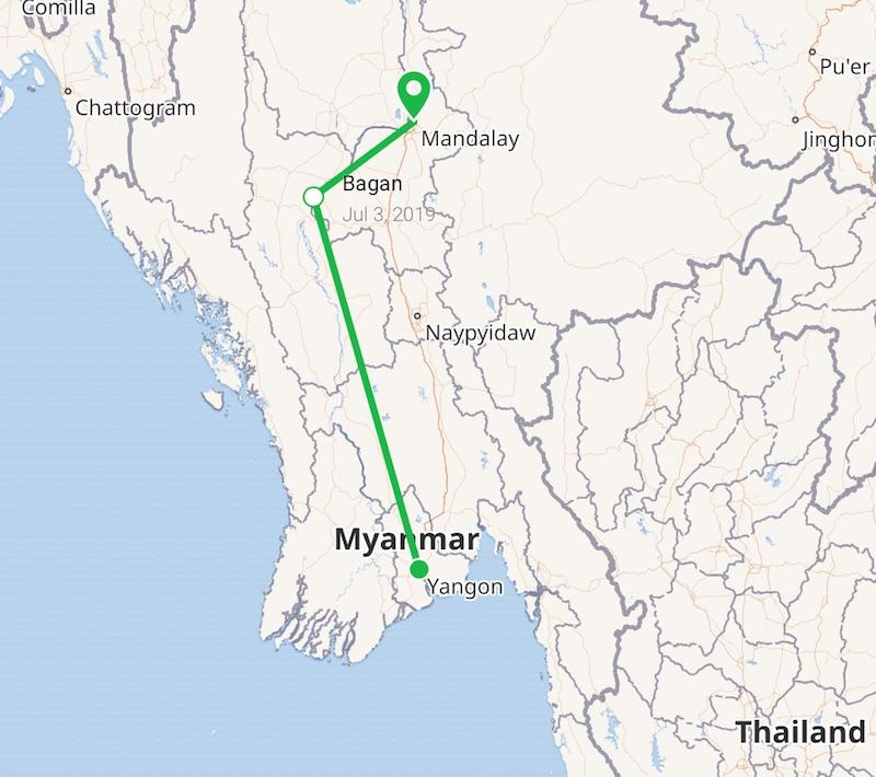 Map Myanmar itinerary Yangon Bagan Mandalay